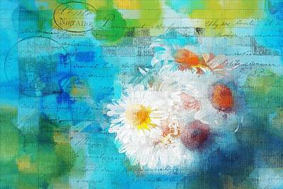 Floral Digital Art - Pot Of Daisies 02 - J3327100-bl1t22a by Variance Collections