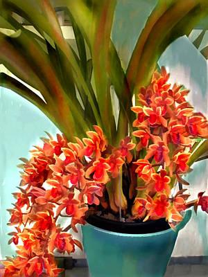 Pot Of Rust Orange Orchids Print by Elaine Plesser