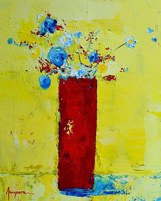 Abstracto Painting - Pot Of Wild Flowers by Patricia Awapara
