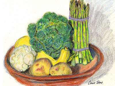 Cauliflower Drawing - Potatoes Asparagus Squash Broccoli Cauliflower by Connie Thomas