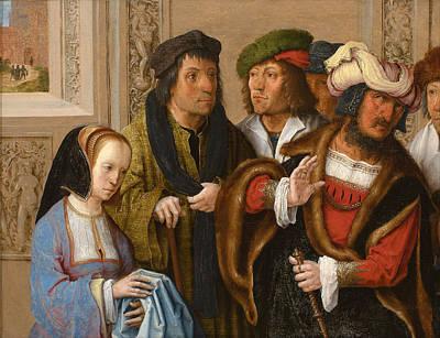 Lucas Van Leyden Painting - Potiphar's Wife Shows Her Husband Joseph's Cloak by Lucas van Leyden