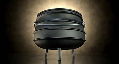 Potjiekos Pot Black Print by Allan Swart