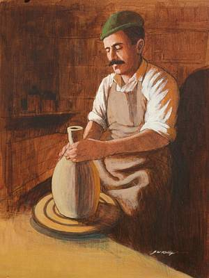 Painting - Potter's Wheel by J W Kelly