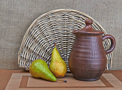 Pottery And Two Pears Still Life Print by Yury Ryzhov