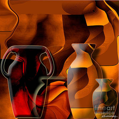 Pottery And Vase 1 Print by Christian Simonian