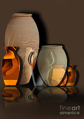 Pottery Digital Art - Pottery And Vase 4 by Christian Simonian