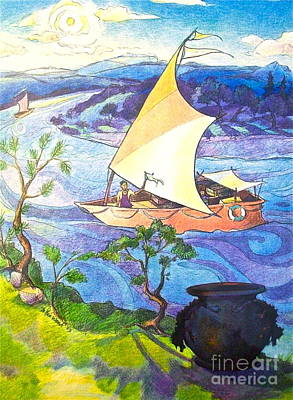 Cast Iron Drawing - Pottery Boat by Linda Zolten Wood