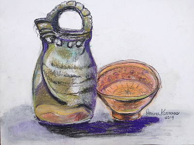 Pottery Buddies... Print by Donna Kerness
