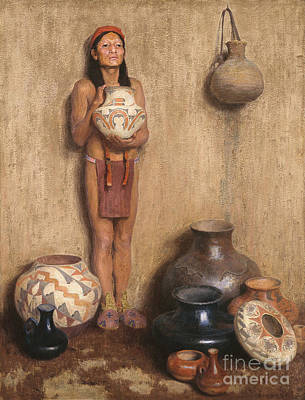 Pottery Vendor Print by Celestial Images