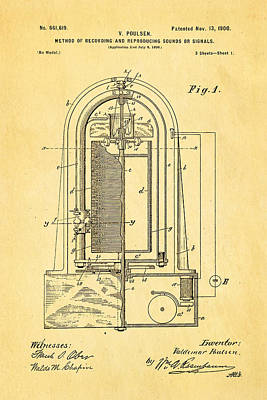 Poulsen Magnetic Tape Recorder Patent Art 1900 Print by Ian Monk