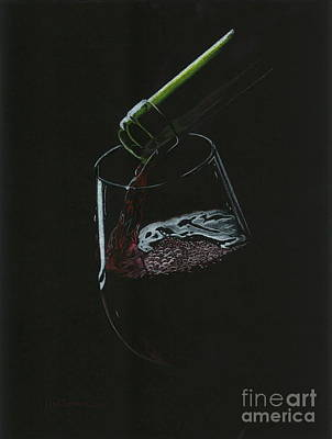 Merlot Drawing - Pouring Red by Lana Bostrom