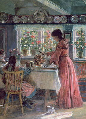 Interior Scene Painting - Pouring The Morning Coffee by Laurits Regner Tuxen