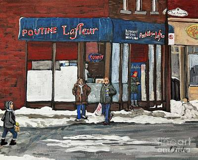 Local Restaurants Painting - Poutine Lafleur On Wellington by Reb Frost