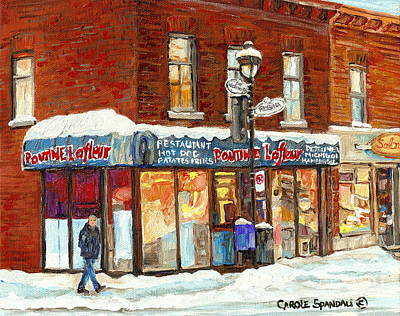 Verdun Landmarks Painting - Poutine Lafleur Rue Wellington Verdun Art Montreal Paintings Cold Winter Walk City Shops Cspandau   by Carole Spandau