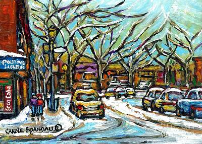 Verdun Landmarks Painting - Poutine Lafleur Verdun Winter City Scenes Montreal Art Urban Snowscene Best Canadian Paintings  by Carole Spandau