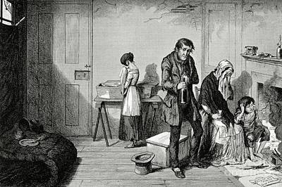 Poverty And Alcoholism, 1840s Print by British Library