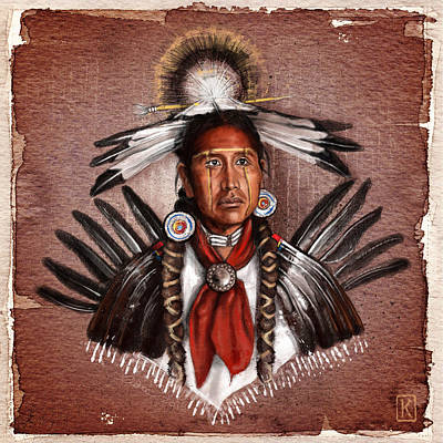 Pow Wow Dancer Print by Andre Koekemoer