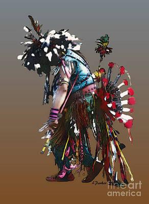 Pow Wow Dancer Print by Linda  Parker