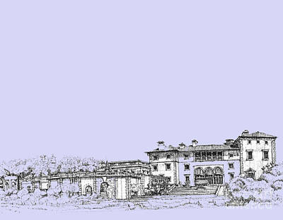 Pen Drawing - Powder Blue Vizcaya Museum  by Building  Art