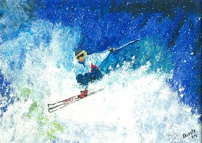 Winter Sports Painting - Powder Play by Carol Duarte