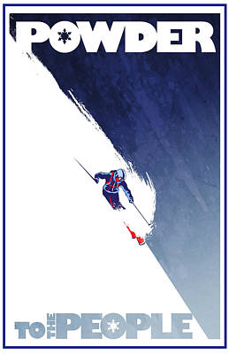 Ski Painting - Powder To The People by Sassan Filsoof