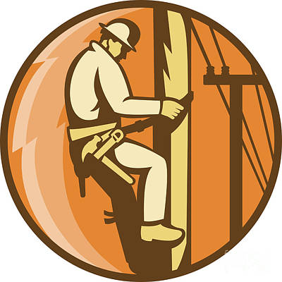 Power Lineman Electrician Climbing Utility Post Print by Aloysius Patrimonio