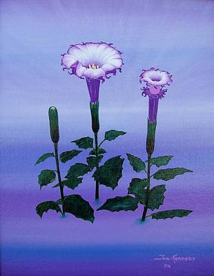 Datura Painting - Power Of Life Or Death by Thomas F Kennedy