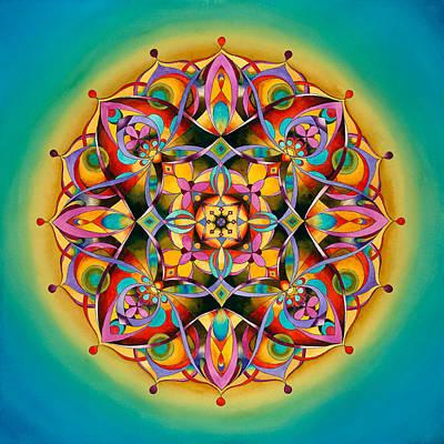 Power - Throat Chakra Mandala Print by Vikki Reed