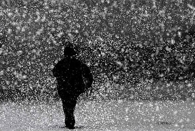 George Pedro Art Painting - Power Walking In A Snow Storm by George Pedro