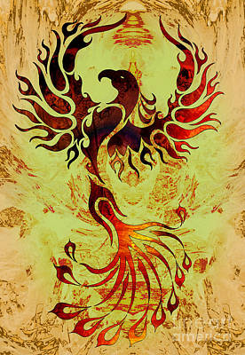 Phoenix Mixed Media - Powerful Phoenix by Robert Ball