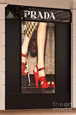 Storefront Photograph - Prada Red Shoes by Rick Piper Photography