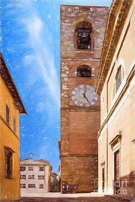 Tuscan Hills Drawing - Praetorian Palace Colle Di Val D'elsa by Ezeepics