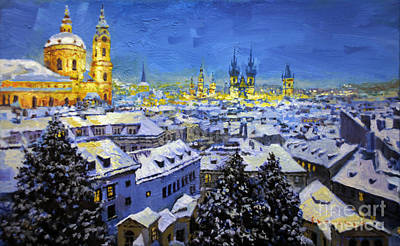 Fall Panorama Painting - Prague After Snow Fall by Yuriy Shevchuk