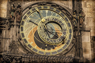 Prague Astronomical Clock Print by Joan Carroll