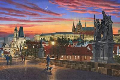 Realist Painting - Prague At Dusk by Richard Harpum
