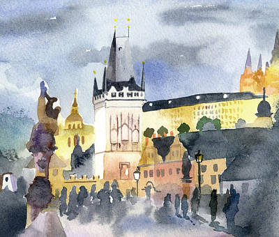 Prague At Night Original by Lydia Irving