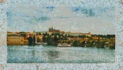 Prague Castle Over The River Print by Dana Hermanova