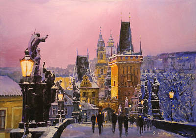 Snow . Bridge Painting - Prague Charles Bridge  Winter Evening by Yuriy Shevchuk
