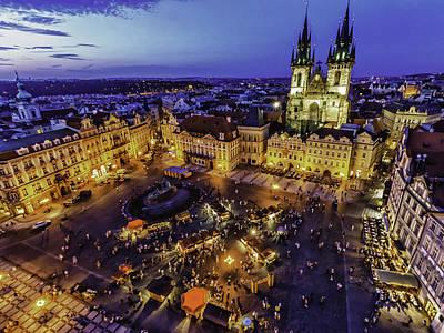 Prague Digital Art - Prague Cityscape At Dusk Staromestski Namesti by Valerii Tkachenko