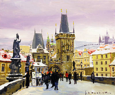 Prague Gharles Bridge Winter Original by Yuriy Shevchuk