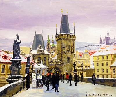 Prague Gharles Bridge Winter Print by Yuriy Shevchuk