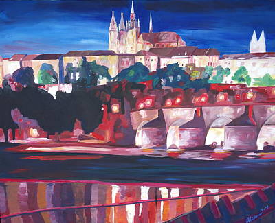 Prague - Hradschin With Charles Bridge Print by M Bleichner