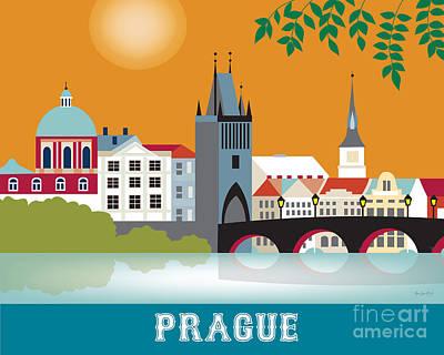 Vltava River Digital Art - Prague by Karen Young