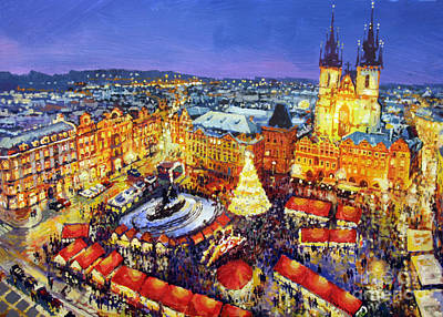 Streetscape Painting - Prague Old Town Square Christmas Market 2014 by Yuriy Shevchuk
