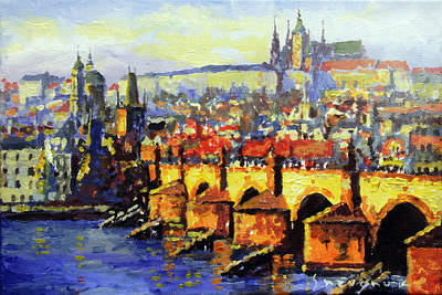 Prague Panorama Charles Bridge Original by Yuriy Shevchuk