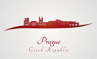 Czech Republic Digital Art - Prague Skyline In Red by Pablo Romero
