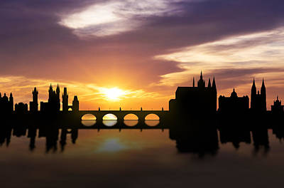 Panoramic Mixed Media - Prague Sunset Skyline  by Aged Pixel