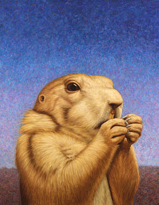 Blue Painting - Prairie Dog by James W Johnson