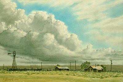 Windmills Painting - Prairie Sky by Paul Krapf