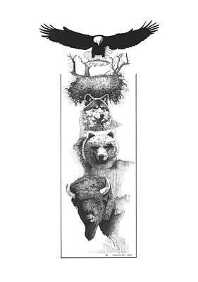 Buffalo Drawing - Prairie Totem by Paul Shafranski